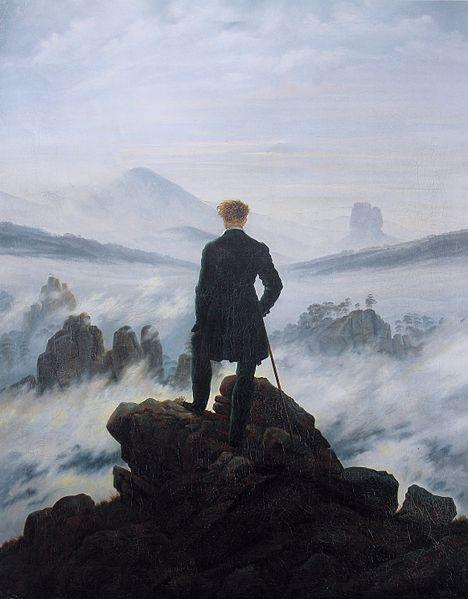 """""""Le voyageur au dessus de la mer de nuage"""" Caspar David Friedrich, 1818"""