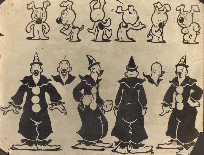 Model-sheet de Koko et Bimbo, Dick Huemer, chef-animateur des Fleischer