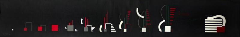 """""""Rythme 23"""" de Hans Richter,  huile sur rouleau, 4 mètres de long"""