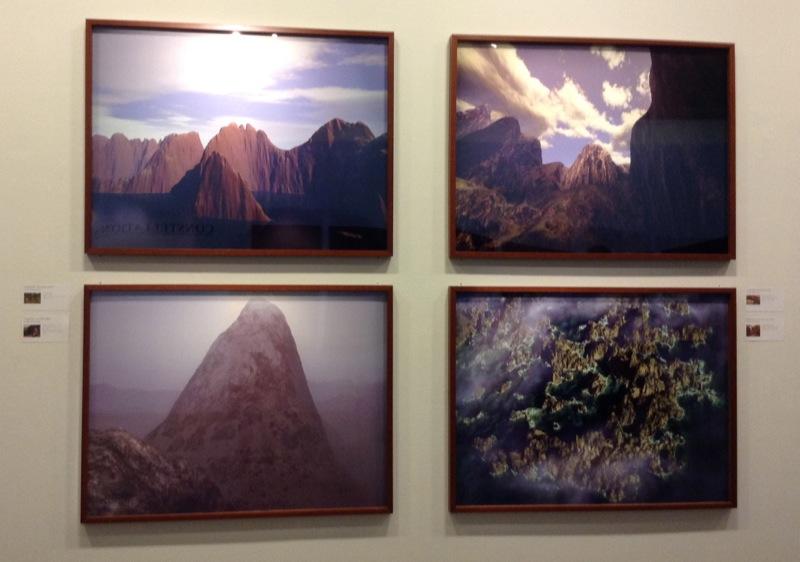 Quatre paysages virtuels réalisés par les logiciels Vistapro, Bryce et Terragen à partir des tableaux du Douanier Rousseau, Courbet, Kandinsky et Gainsborough, 2002-2004