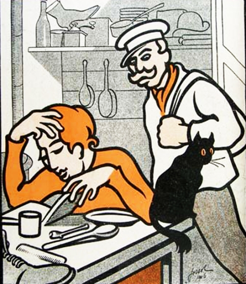 Image de G.H Jossot parue dans l'Assiette au beurre , N° 296, 1906 avec la légende : Et C'te soupe ? Fiche moi la paix, je lis Karl Marx.