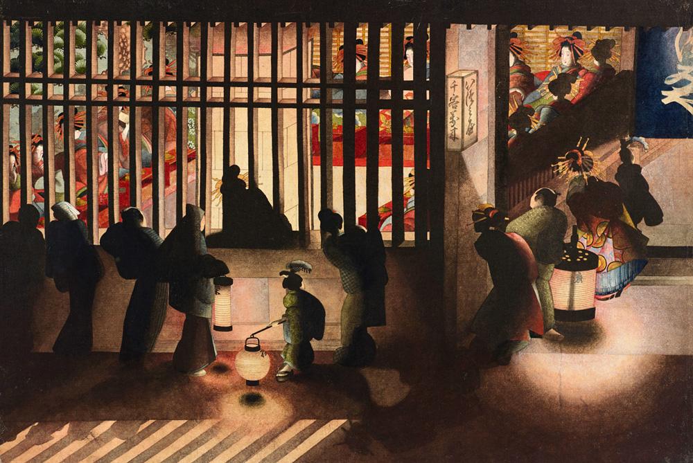 Scène de nuit dans le Yoshiwara,  O Ei Katsushika, date inconnue