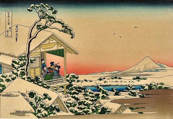 Une maison de thé et le mont Fuji sous la neige, Hokusai, 1830