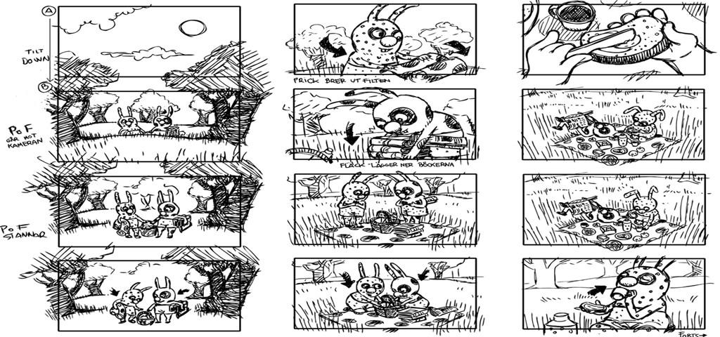 "storyboard ""Le pique-nique"", Lotta Geffenblad"